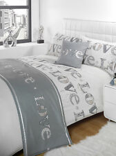 5pc Love Silver Super King Size Bed In A Bag Duvet / Quilt Cover Bedding Set