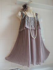 NEXT Vintage 1920s Grey Deco Sequin Tier Flapper Charleston Gatsby Downton DRESS