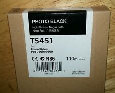 09-2016 New Genuine Epson T5451 110ml Photo Black Ink 7600, 9600