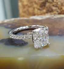 1.40 Ct Cushion Cut Diamond Engagement Ring Round Accents U-Set F,VS2 GIA 14K