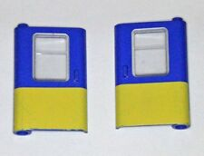 Lego TRAIN carriage Doors pair 4181p01/4182p01 Blue w/ Yellow bottom half