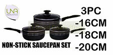 BLACK 3PC SAUCEPAN COOKWARE SET POT WITH GLASS LID PAN FRYING PAN INDUCTION P16