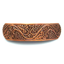 Large Copper Grapevine Metal Barrette Ponytail Holder Vintage Style Hair Clip