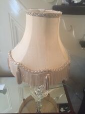 Vintage Fabric Lampshade Downton Gold Taupe Fringing Tassels Table Lamp