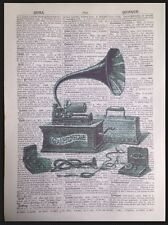 Vintage Gramophone Print Original 1933 Dictionary Old Book Page Wall Art Picture