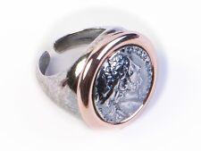 Anello regolabile Vanto Gioielli  in argento brunito e rosé con moneta grande