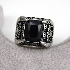 Shiny 3A Stone Cubic Zirconia Silver Stainless Steel Casting Hip hop Men's Ring