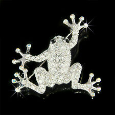 w Swarovski Crystal Big FROG Toad Tropical Rainforest Wildlife Jungle Pin Brooch