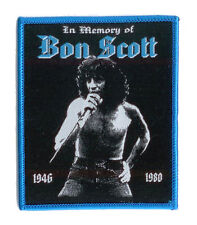 "BON SCOTT Sew-on Patch ""In Memory"" ♫ Rare Tribute Patch ♫ blue border edition"