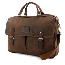 Navigator Briefcase Brown Waxed Canvas & leather Sale Brand New Line of luggage