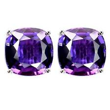 Stud Earrings Aqua Sapphire Kunzite Cushion Sterling Silver 925 Handmade Popular