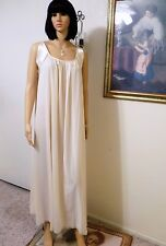 LUCIE ANN vintage Nylon BEIGE with Satin Banded Sleeve Nightgown size L large