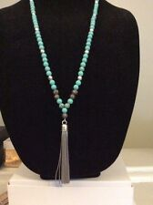 Lucky Brand Gifting Collection Necklace Turquoise Beads W Tassel $49 # KK 3(6)