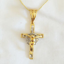 New Silver Gold Two Tone Crystal Crucifix Cross Charm Chain Necklace Gift NE1200