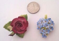 Vtg  CHINA STAFFORDSHIRE FLOWER BROOCH PIN & DENTON PENDANT