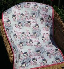 Handmade Bassinet, stroller, play mat  cotton quilt pink and grey Kimmi Dolls