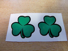 2x green irish shamrock sticker decal - 50mm