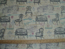 COTTON Fabric Victorian Vintage furniture by Wild Apple  BTY