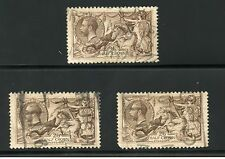 GREAT BRITAIN  SEAHORSES  2/6 LOT OF THREE 2 ARE DEFECTIVE USED HAVE FUN BIDDING