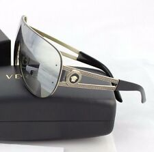 NEW Genuine VERSACE Rock Icons Pale Gold Mirror Shield Sunglasses VE 2166 12526G