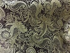 "BROWN GOLD PAISLEY METALLIC BROCADE FABRIC  45"" WIDE 1 YARD"