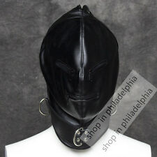 Soft Leather Full face gimp bondage hood mask zipper eyes mouth lace up back
