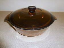 Vintage Amber Fire King 1 1/2 Quart Glass Casserole with Lid and Handles