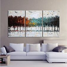 Large Modern Contemporary 3-Piece Set Oil On Canvas Unframed Abstract Wall Art