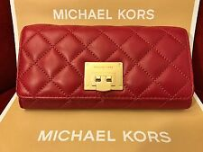 NWT MICHAEL KORS SOFT QUILTED LEATHER ASTRID CARRYALL WALLET - CHERRY/GOLD-HRDWR