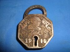 Old Vintage Brass Gandhi Bapu Pad Lock from India 1950