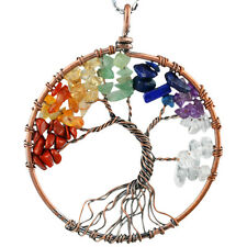 Copper Red Mixed Gravel Gemstone Tree Of Life Chakra Reiki Wire Wrapped Pendant