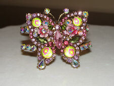 "Betsey Johnson ""Spring Glam"" Butterfly Crystal Flower Cuff Bracelet New"