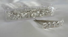 25 DIAMONTE/DIAMANTE STYLE PINS 4CM / 1.5 INCH WEDDINGS BUTTONHOLES FLORAL WORK