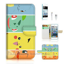 iPod Touch iTouch 5 Print Flip Wallet Case Cover! Pokemon Pikachu P0022