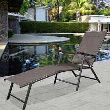 Pool Chaise Lounge Chair Recliner Outdoor Patio Furniture Textilene Adjustable