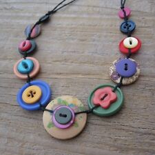 Button Necklace - brightly coloured colourful long, medium or choker necklace