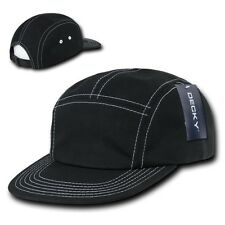 Black Cotton 5 Panel Stitch Solid Biker Racing Jockey Adjustable Cadet Cap Hat