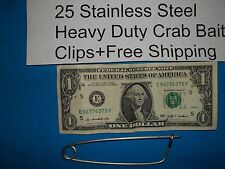 25 each Crabbing Crab Trap Bait Clips Stainless Net Pot Pin Line CrabHoudini