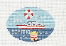 """GONE POWER BOATING""  Oval Ornament handpaint Needlepoint Canvas Kathy Schenkel"