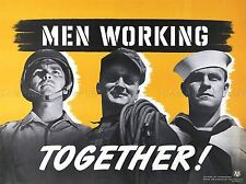 PROPAGANDA AMERICA NAVY ARMY USA MEN WORKING TOGETHER ART POSTER PRINT LV6928