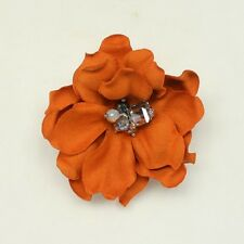 Synthetic Leather Flower Floral Brooch Pin Hair Clips Suede Rhinestone Hat HC210