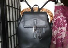 Coach Backpack Black Leather Double Straps Shoulder Bag