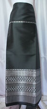 Thai Tradition Black Silver Synthetic Silk Fabric for women Skirt Dress FB61