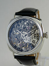 UNIQUE Montre coussin squelette type UNITAS 6498 skeleton watch Gun metal