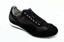 $425 DOLCE & GABBANA Black Leather MONOGRAM Casual Men Sneakers Shoes 41 / 7