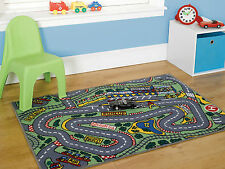 Childrens Formula One Playmat Roadmap Cars 80 x 120 cm Kids Washable Rug
