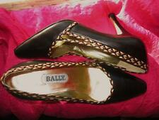 BALLY SHOES BLACK CLASSY LEATHER HEELS!SIZE 7 M/38! MADE IN ITALY