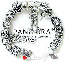"Authentic Pandora 925 Silver Bracelet Red ""Love Story"" Wife European Charms New"