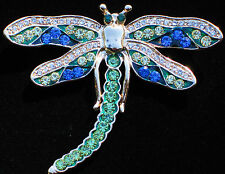 GOLD TONE BLUE GREEN CLEAR  RHINESTONE DRAGONFLY BUG INSECT PIN BROOCH JEWELRY