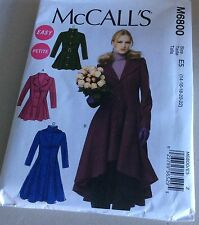 McCall's Pattern 6800 Misses Fitted, Flared, Lined Coat Sz 14-22